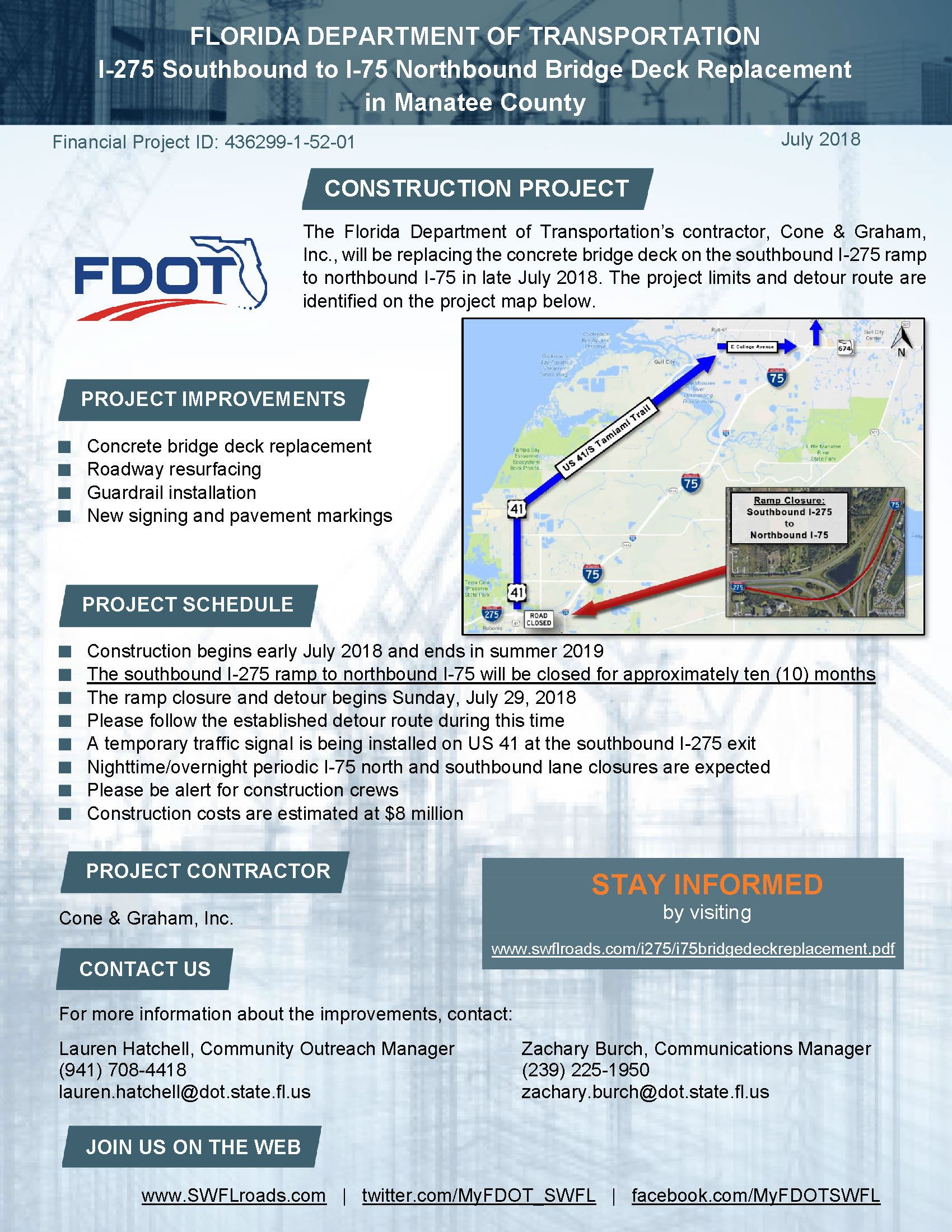 I 275 at I 75 Bridge Deck Replacement Construction Project Flyer